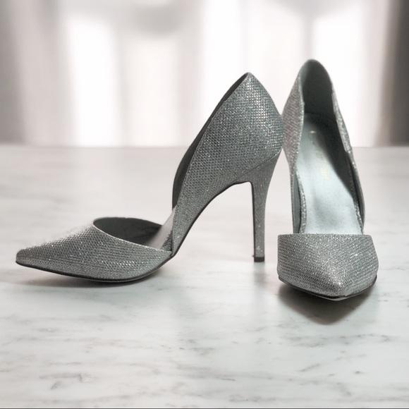 273269d9f485 Dream Paris Shoes - Silver Grey Sparkly Glamorous Glitter Pump Heels